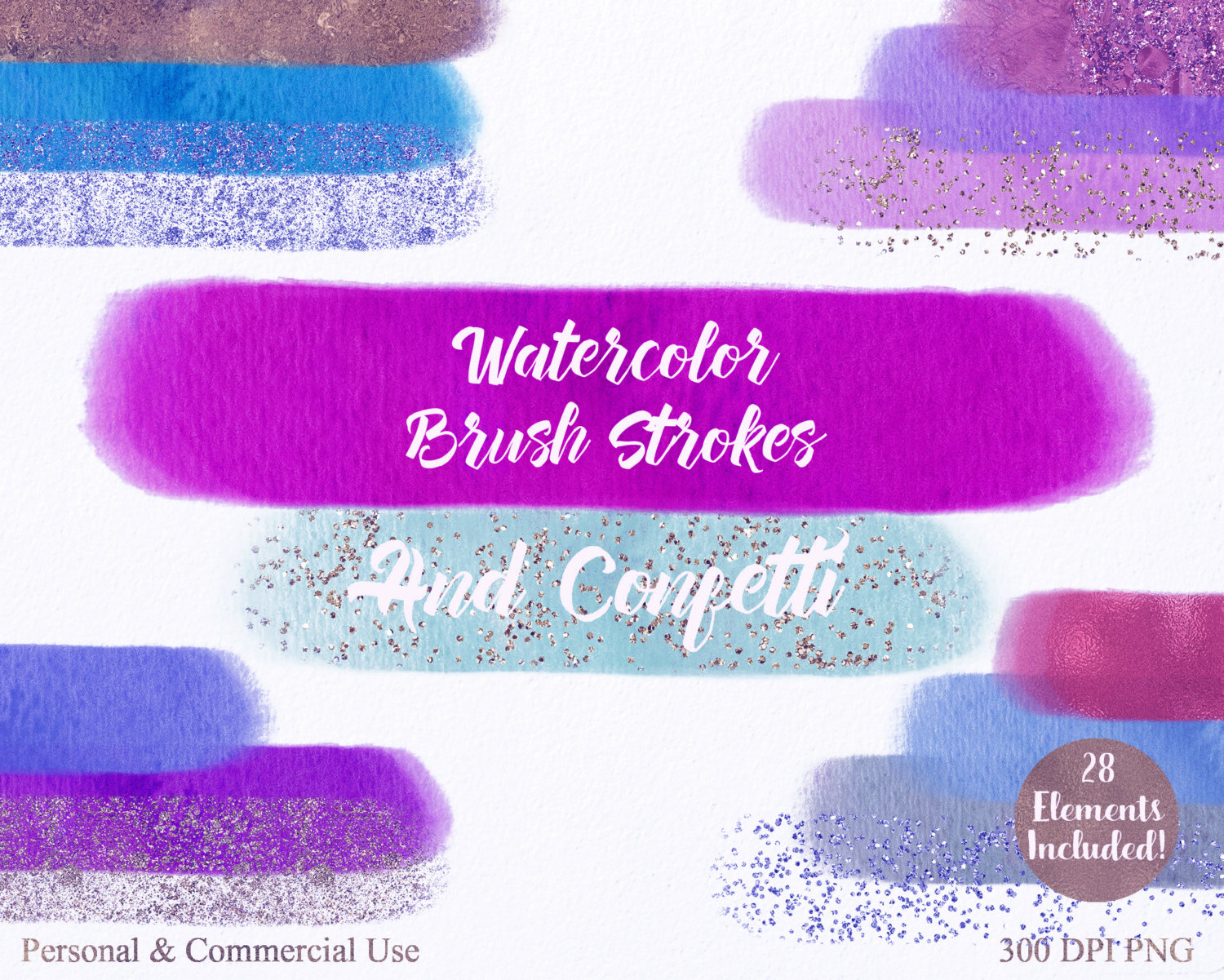 WATERCOLOR BRUSH STROKES Clipart Commercial Use Clipart 28.