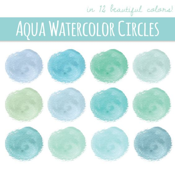 CLIP ART: Watercolor Circles // Aqua Color // Instant Download.