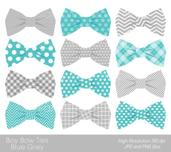 Bow Ties Clipart, Bowtie Clip art, Aqua Blue, Grey, only FOR PERSONAL USE.