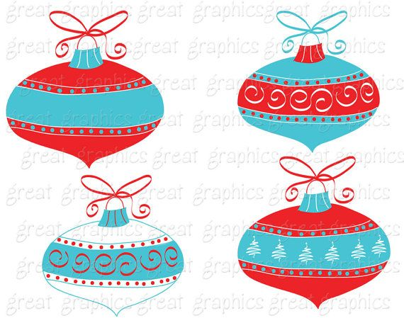Aqua Christmas Clipart..