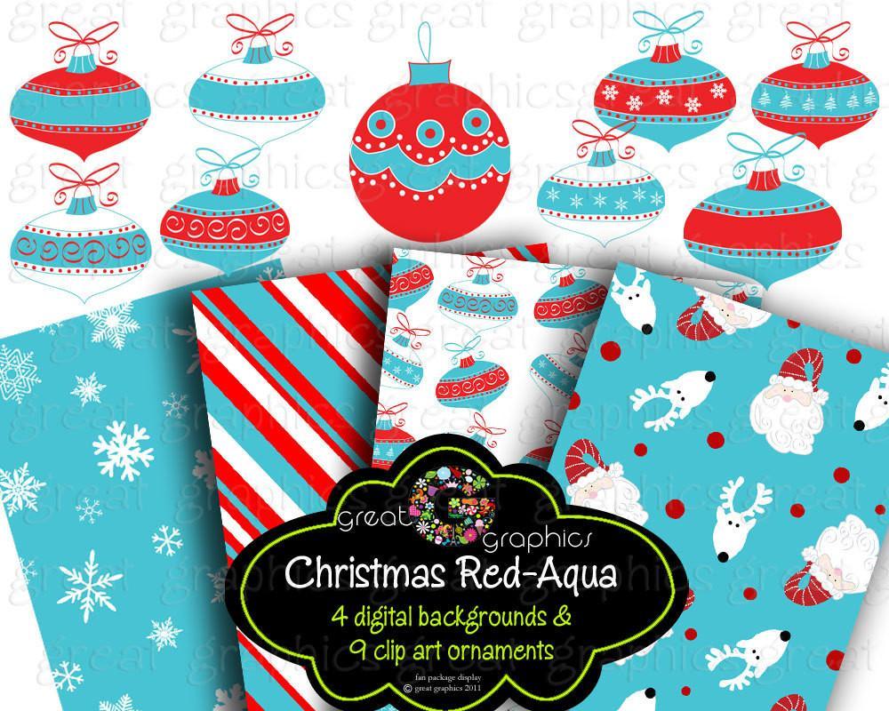Christmas Clip Art Christmas backgrounds, printable red aqua christmas  digital clip art and backgrounds red aqua Christmas ornaments.