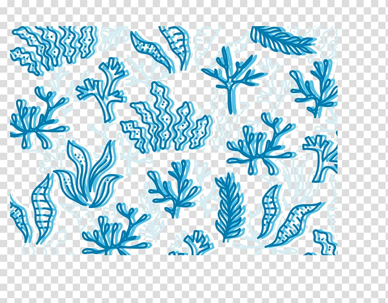 Blue, Seamless background of blue sea bottom seaweed.
