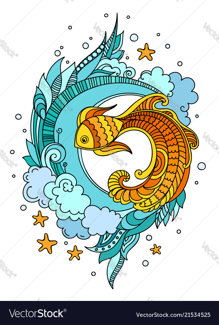 Fish among seaweed.