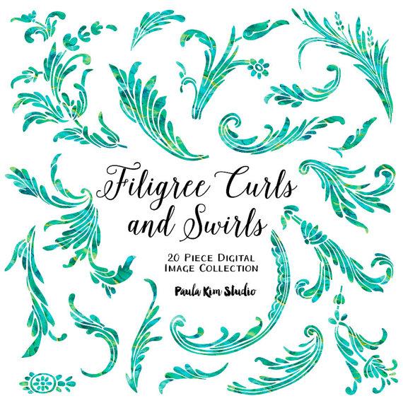 Green Filigree Swirls and Curls Flourish Clipart, Green.