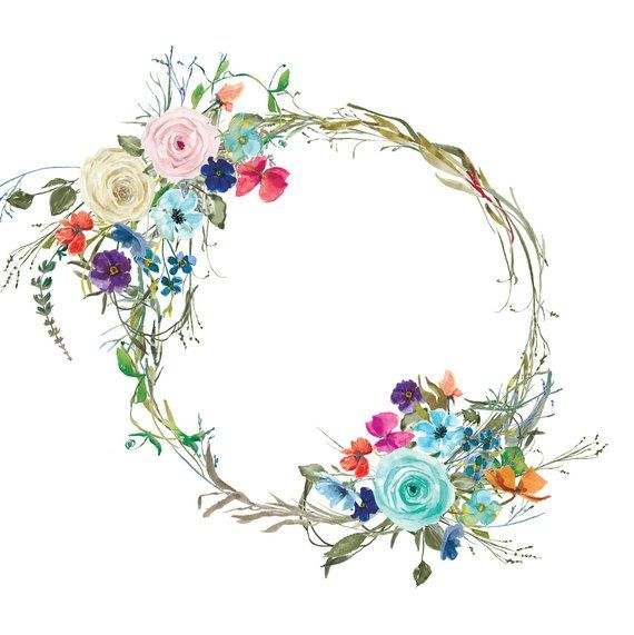 Pastel Roses Tiny Flowers Wreath Colorful Floral Wreath.