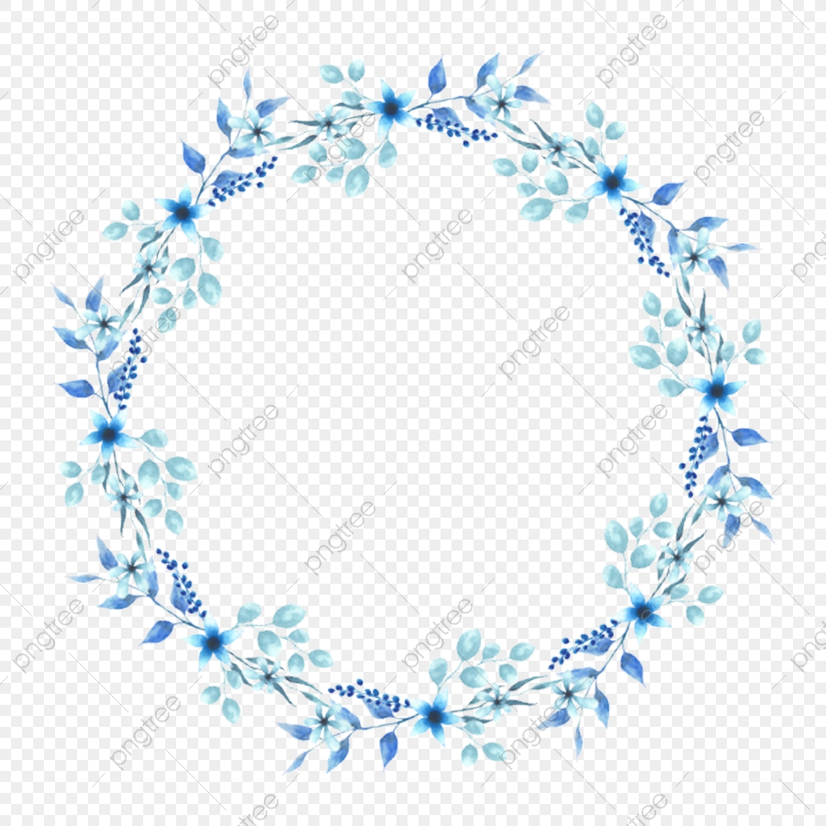 Watercolor Round Style Blue Floral Wreath, Wreath.