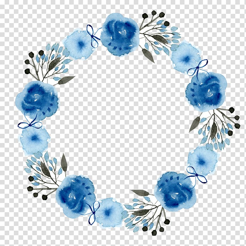 Library of blue floral wreath clip stock png files.