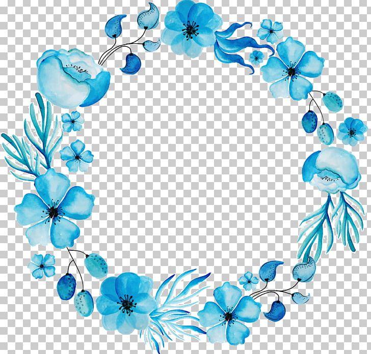 Watercolour Flowers Floral Design Wreath Blue PNG, Clipart.