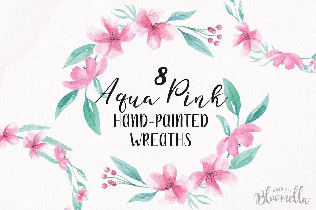 Watercolor Aqua Pink Clipart Wreaths Flowers Garlands Floral.