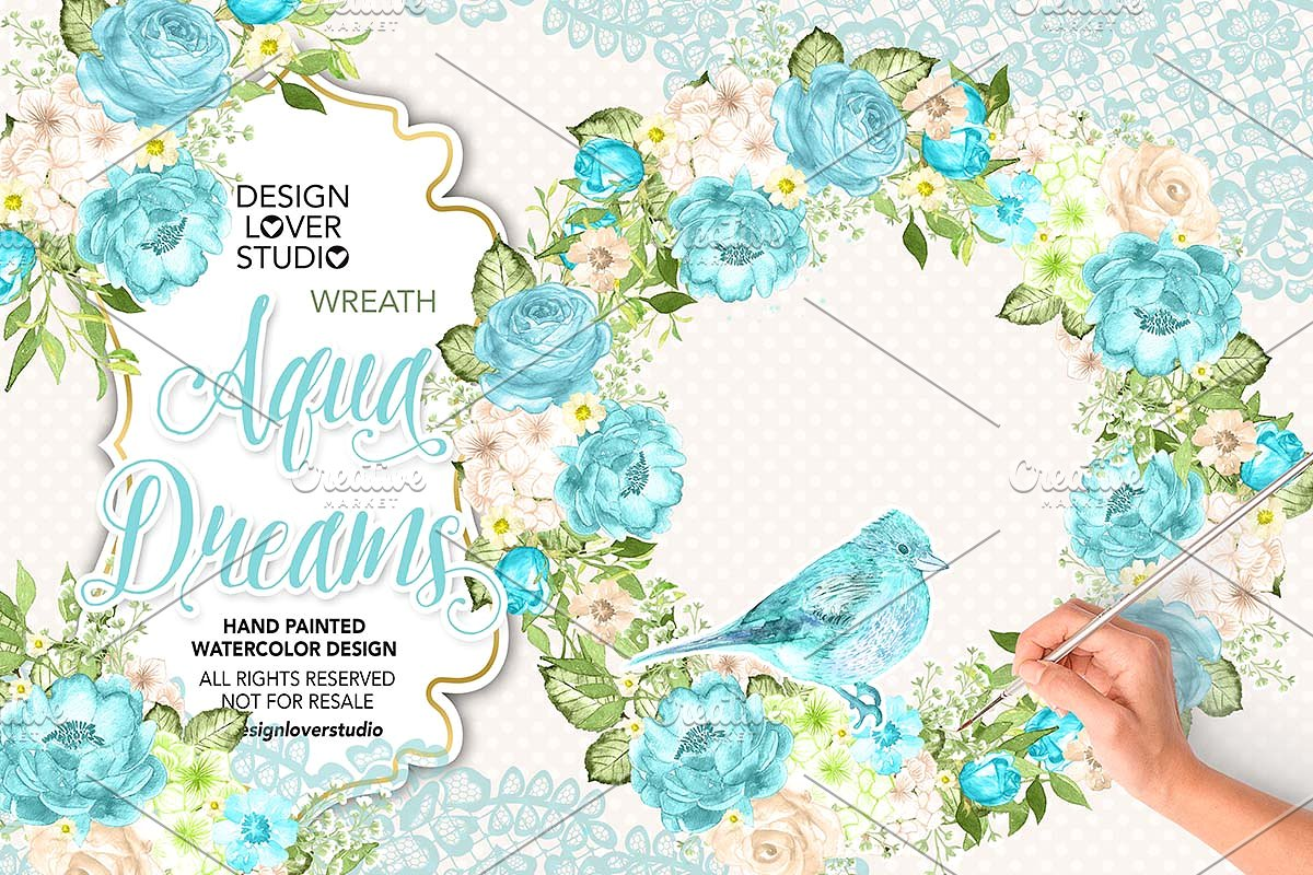 Watercolor Aqua Dreams wreath.