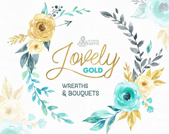 Lovely Flowers Gold. Wreaths and Bouquets. Watercolor.