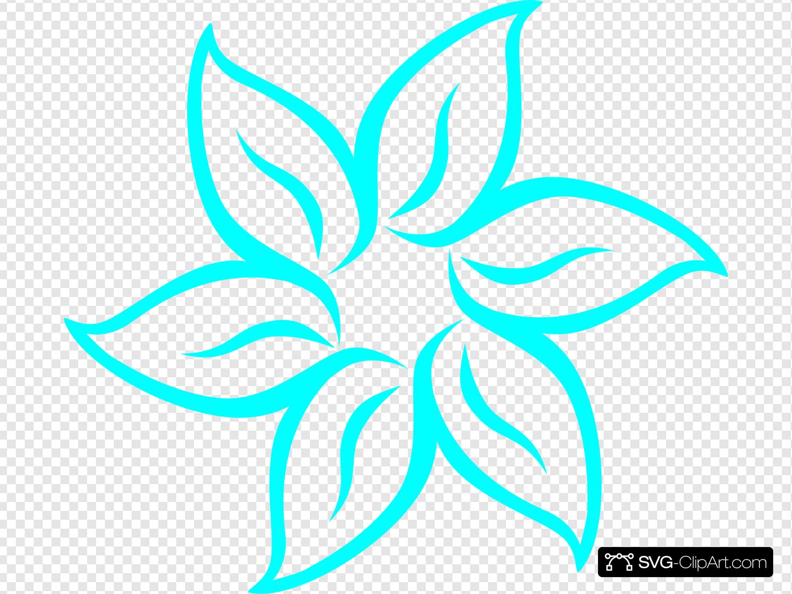 Aqua Flower Outline Clip art, Icon and SVG.