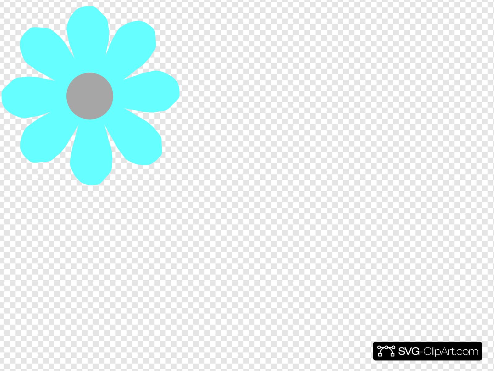 Aqua Flower Clip art, Icon and SVG.