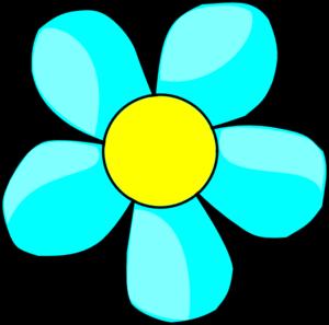 Aqua Flower Clip Art.