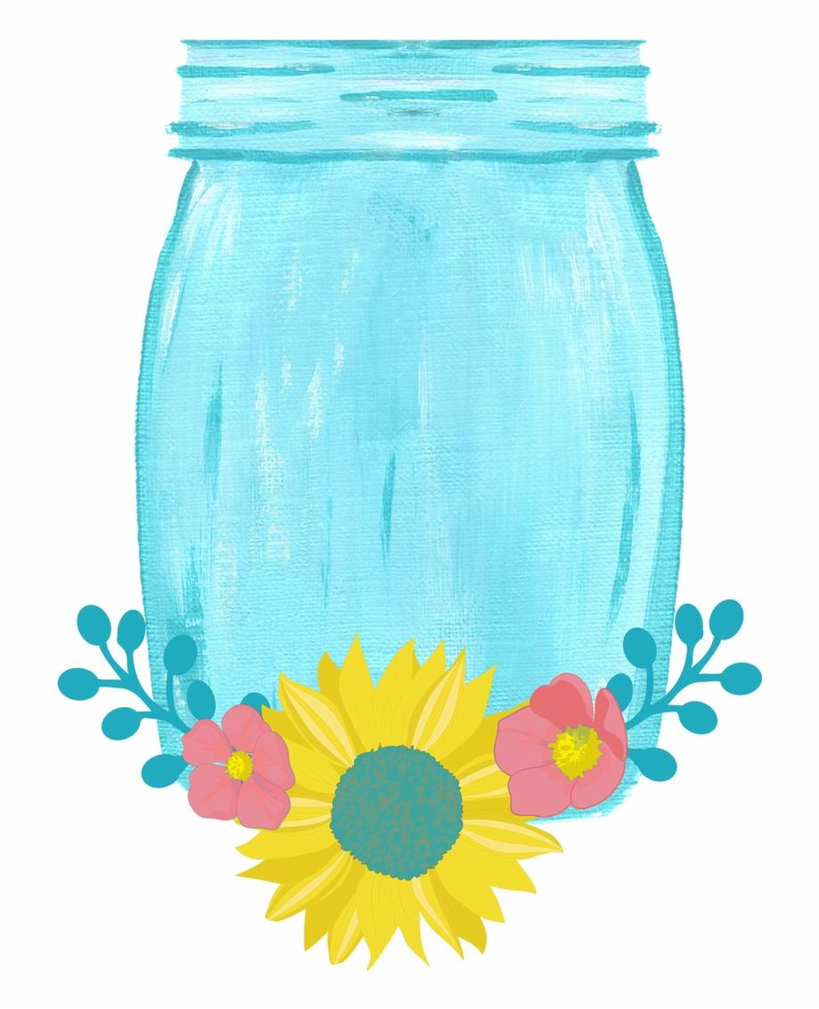 Drawn Mason Jar Sunflower Png Mason Jar.