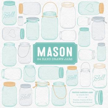 Aqua Mason Jars Clipart & Vectors.
