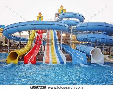 Stock Photograph of Aquapark sliders, aqua park, water k9597239.