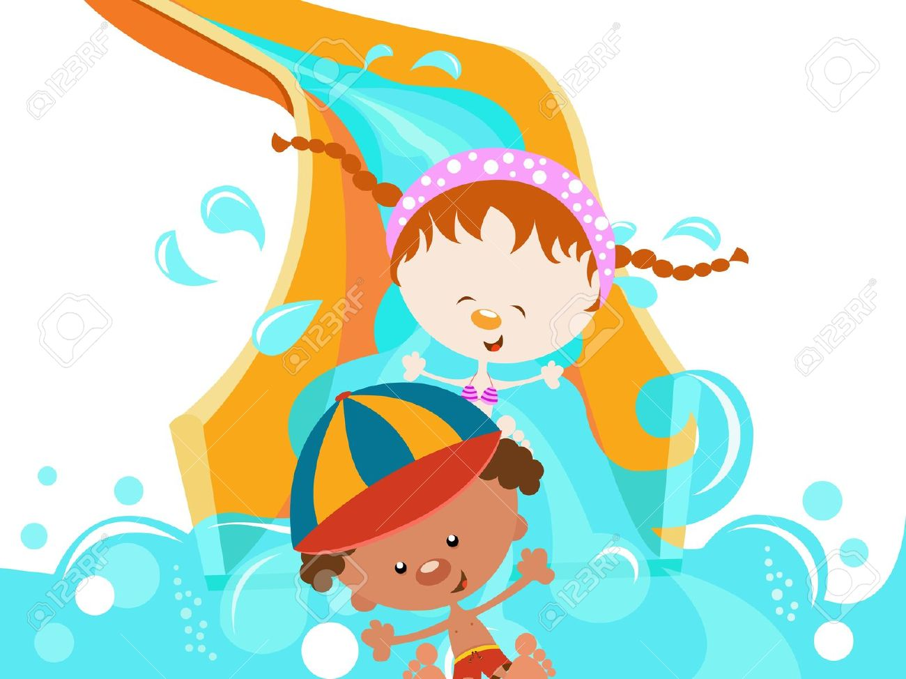 Kids water park clipart.