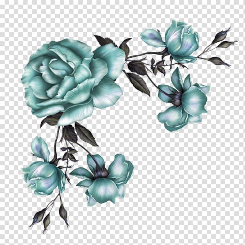 Blue rose flowers illustration, Paper Flower Pink Rose.