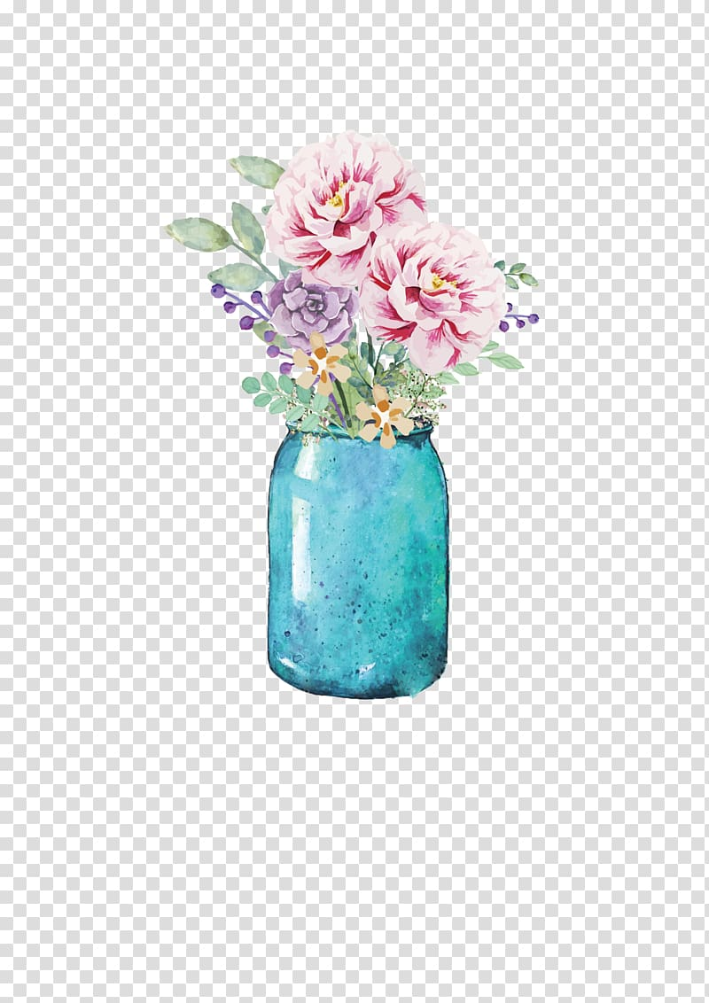 Blue jar with pink and purple flowers, Flower Mason jar.