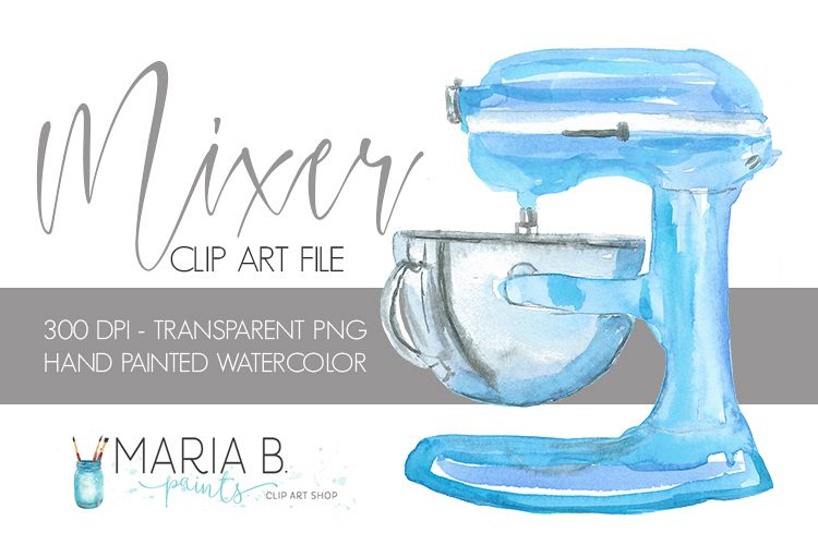 Blue Stand Mixer Baking Watercolor Clip Art PNG.