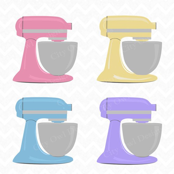 Stand Mixer, Kitchen Clip Art, Baking Clipart, Colorful.
