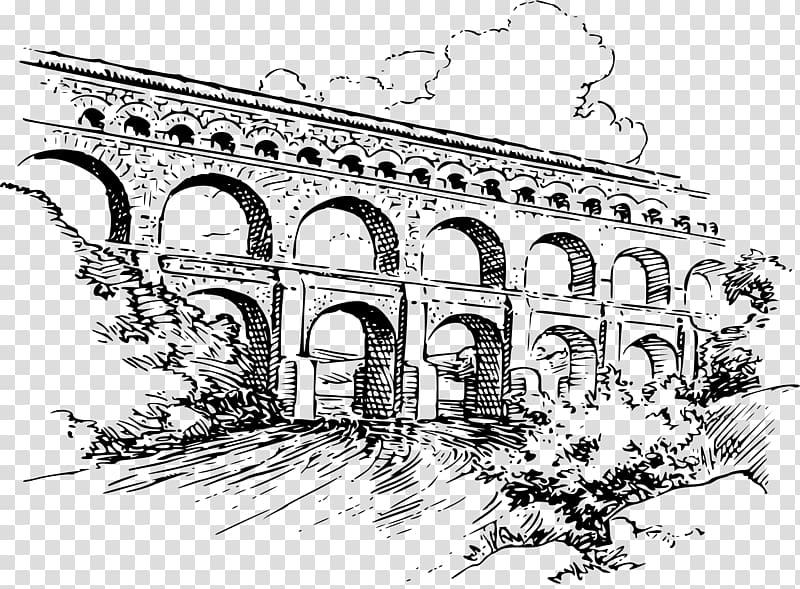 Pont du Gard Roman aqueduct Drawing , roman transparent.
