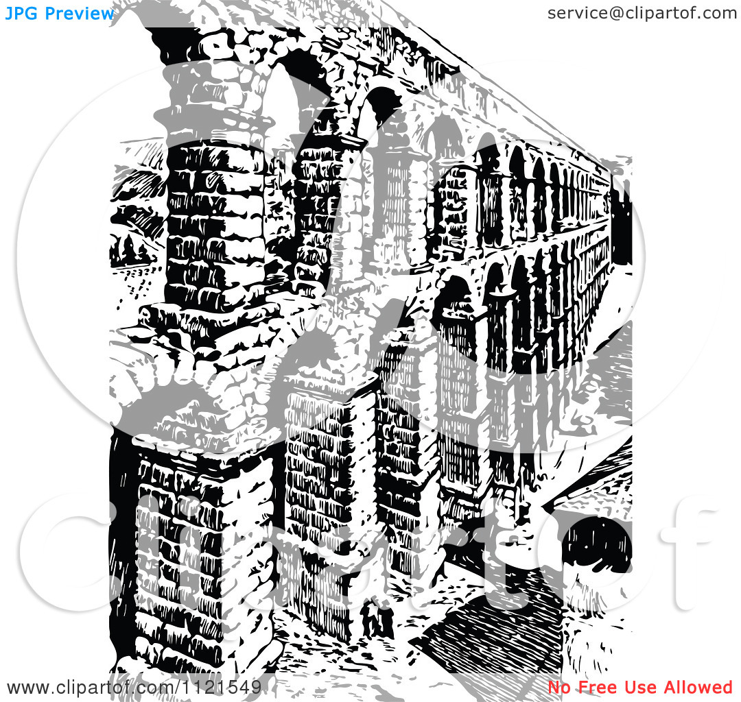 Clipart Of A Retro Vintage Black And White Brick Aqueduct.