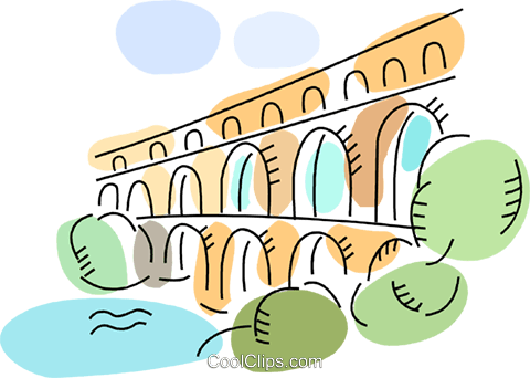 Roman Aqueducts and Walls Royalty Free Vector Clip Art.