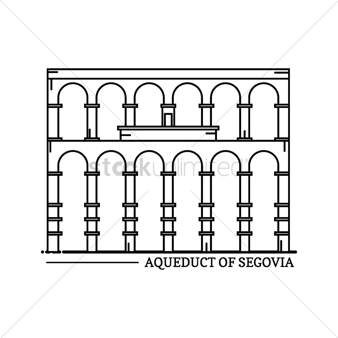 Aqueduct of segovia Vector Image.