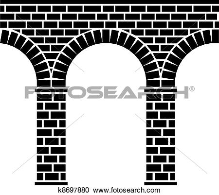 Clipart of vector ancient seamless stone bridge viaduct aqueduct.