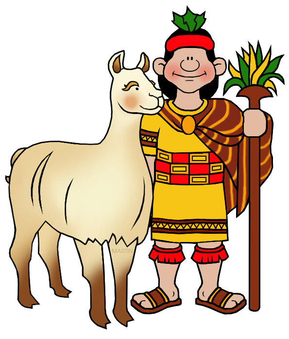 Inca Clip Art by Phillip Martin, Man and Llama.