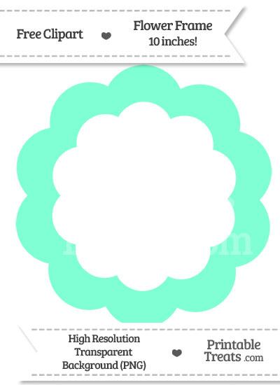 Aquamarine Flower Frame Clipart — Printable Treats.com.
