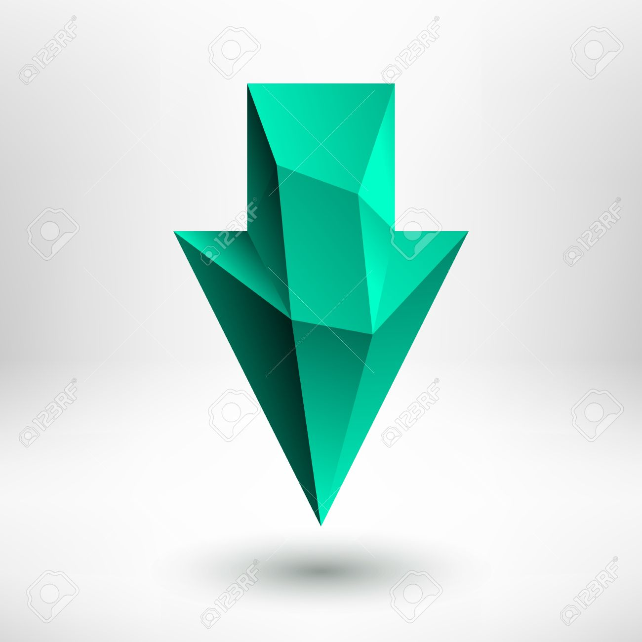 3d Green Emerald, Jade, Aquamarine, Mint, Pale Green Down Arrow.