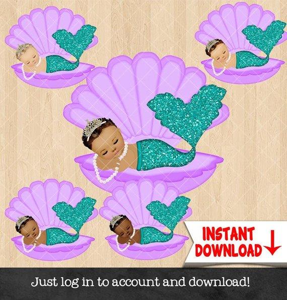 Mermaid Baby Girl Sleeping Clam Shell TEAL DrkTURQ Glitter.