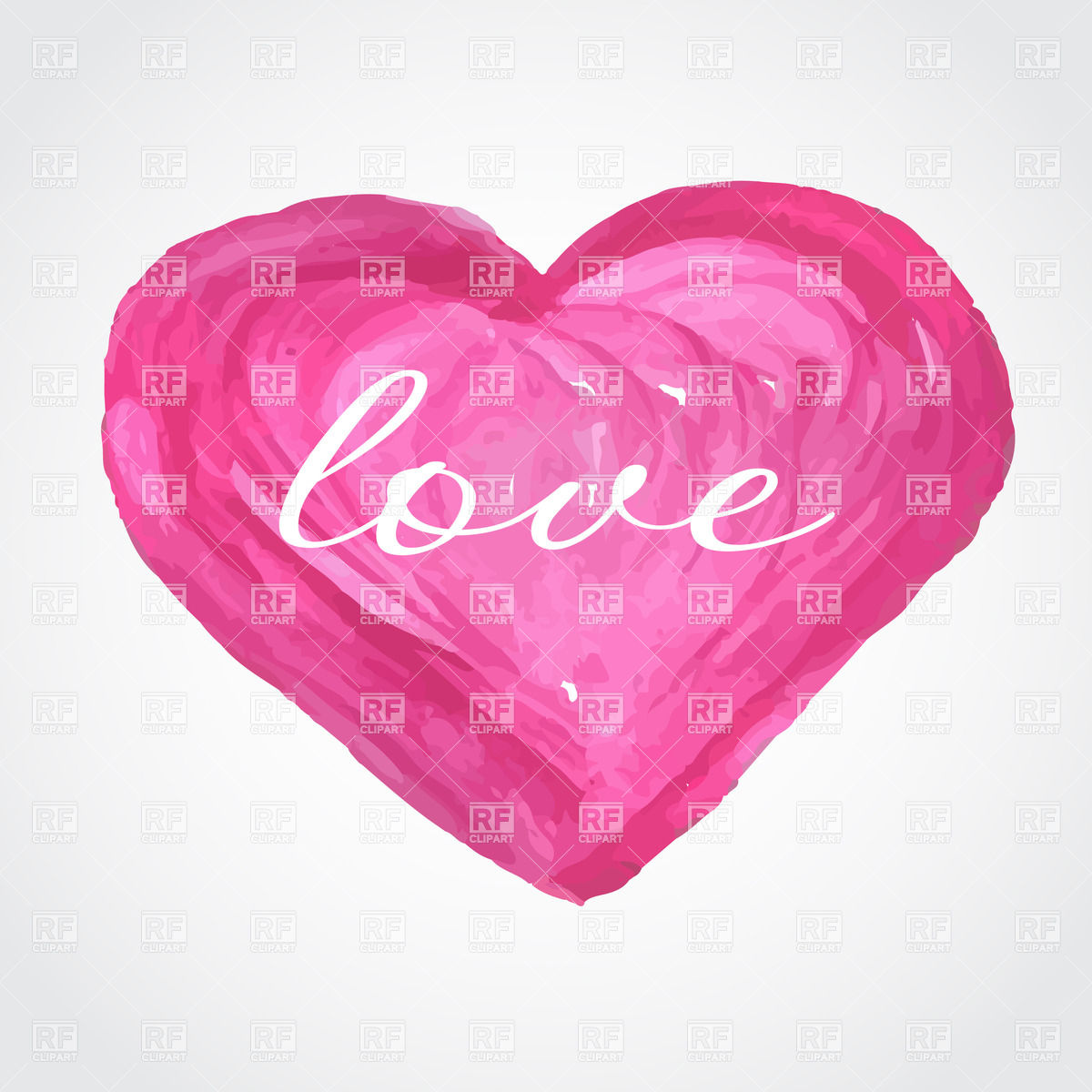 Pink aquarelle heart with word love. Beautiful greeting vintage.