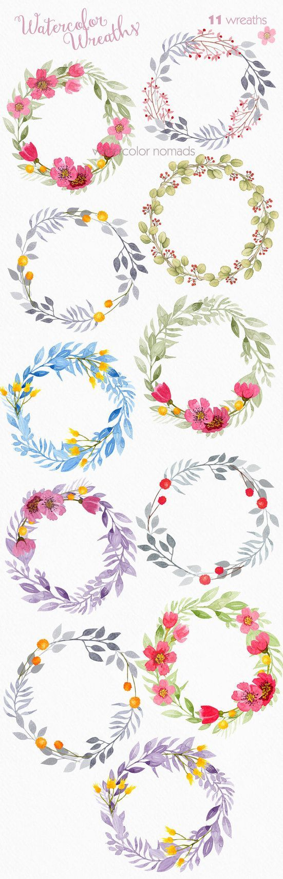 Floral wreath clipart, watercolor clipart, wedding clipart, flower.