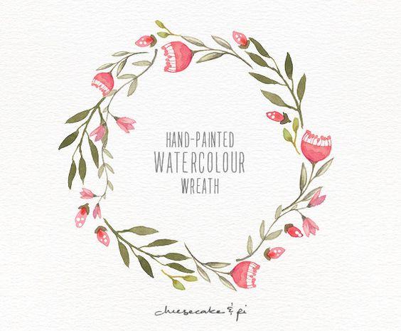 Couronne de l'aquarelle: 1 PNG Couronne de fleurs clipart.