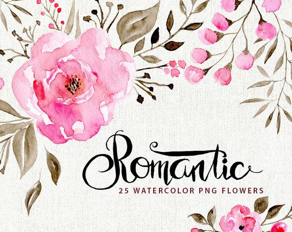 Watercolor flower clipart: 25 romantic flowers Aquarelle.