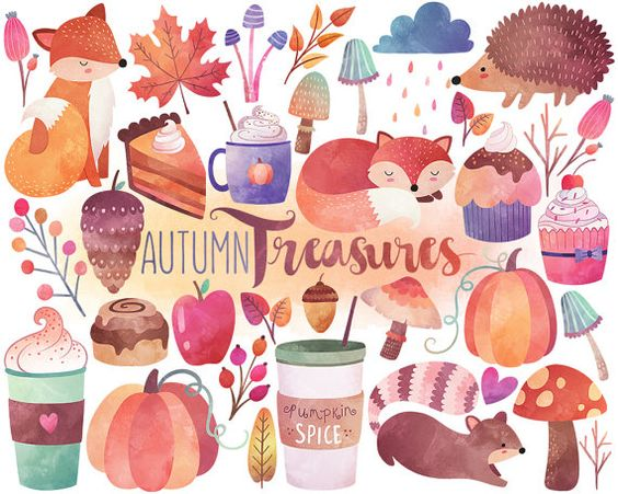 Autumn, Watercolors and Design elements on Pinterest.