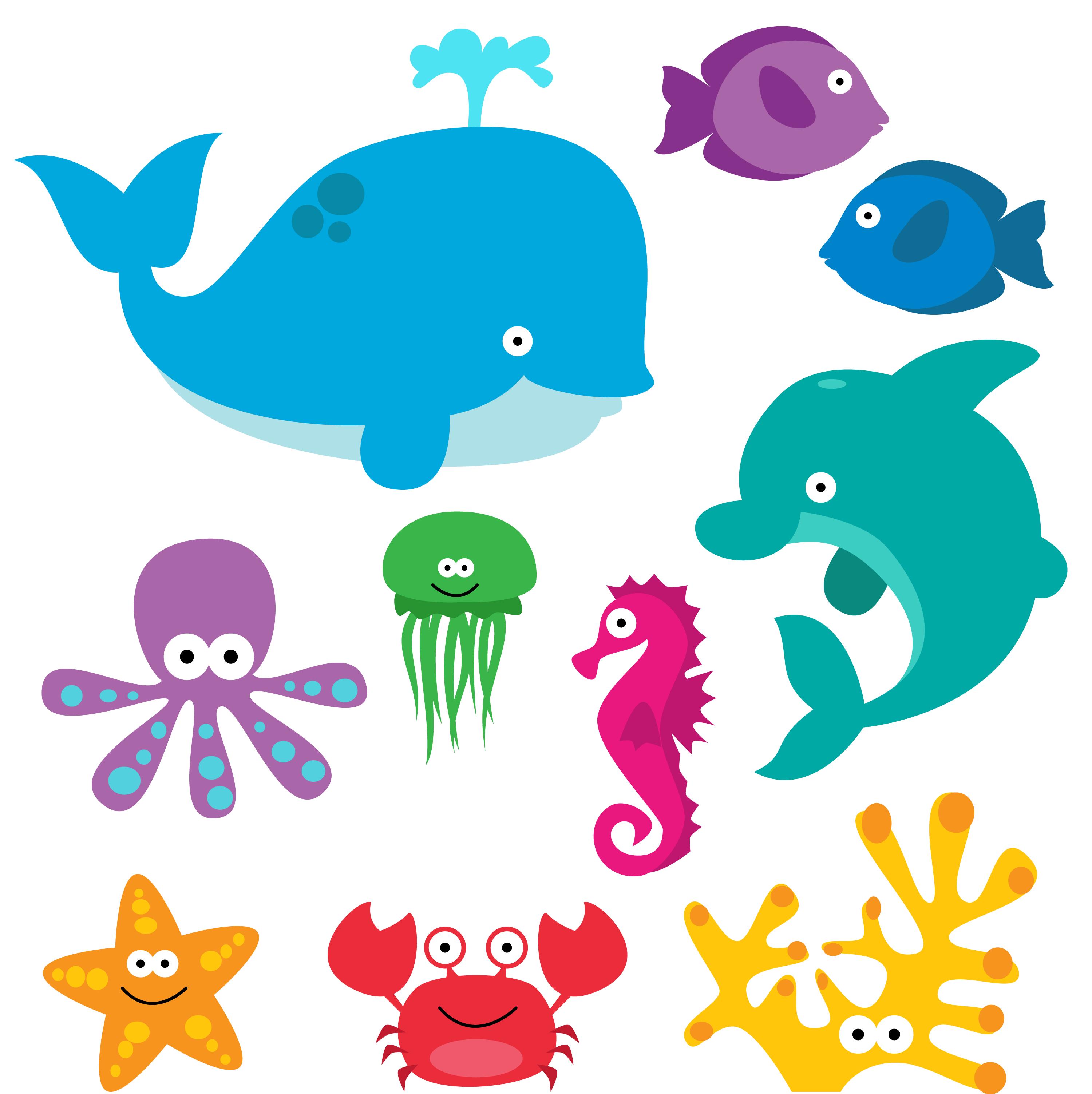 Underwater Animals Clipart.