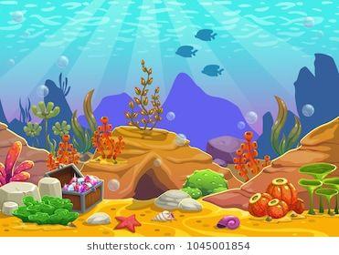 Cartoon underwater background. Ocean bottom nature. Vector.