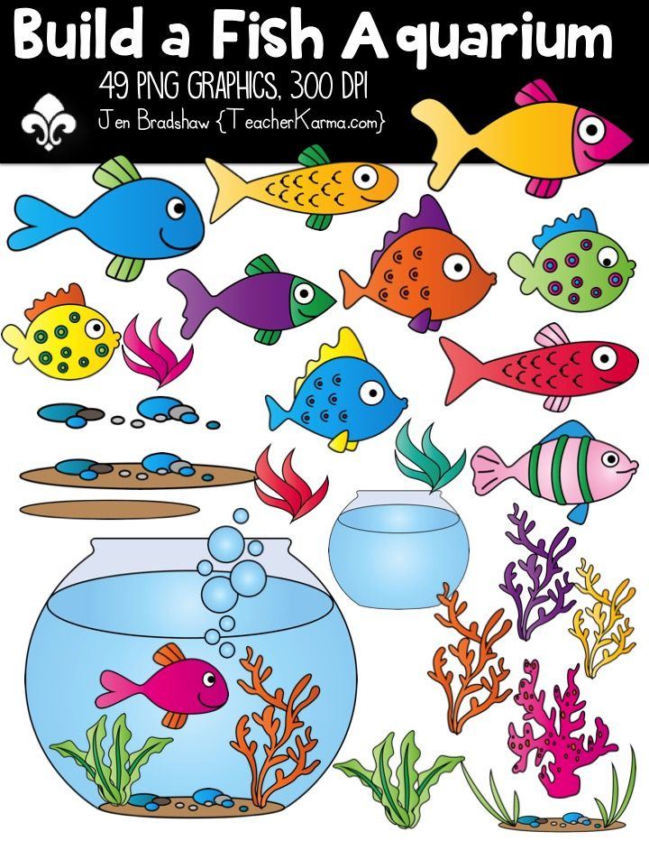 Build a Fish Aquarium Clipart ~ Commercial Use OK ~ Tank.