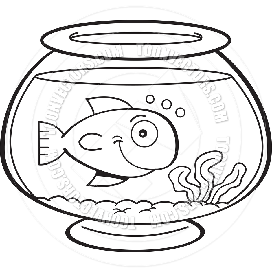 Cartoon Fish In A Fish Bowl (Black And Whi #116341.
