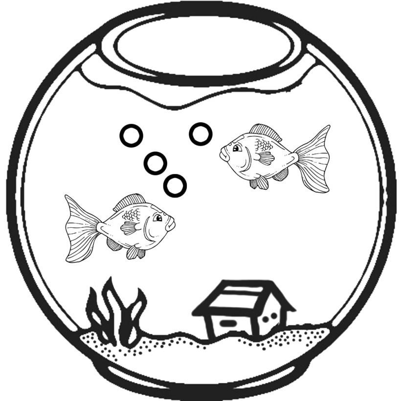 Fish in aquarium clipart black and white 6 » Clipart Portal.