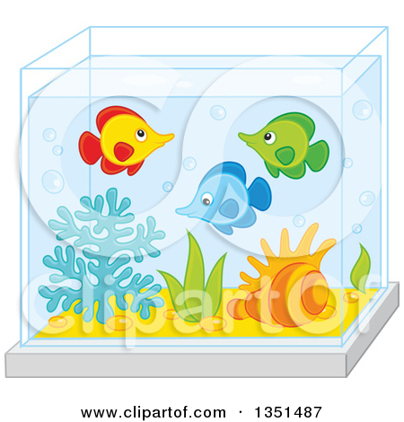 Clipart of a Rear View of Families Watching Fish at an Aquarium.