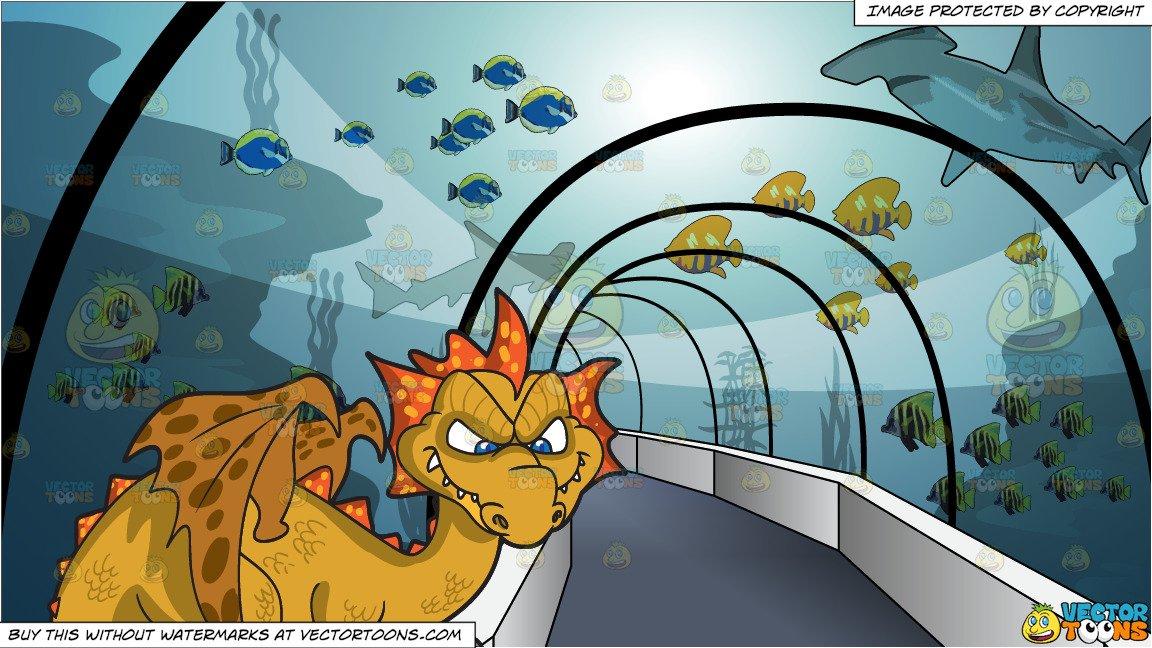 A Mischievous Dragon and Tunnel Through An Aquarium Background.