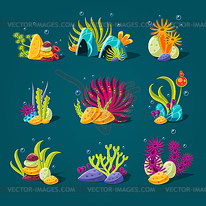 Set of cartoon algae, elements for aquarium.