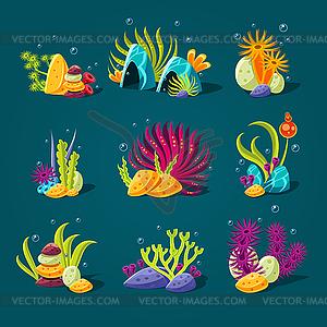 Set of cartoon algae, elements for aquarium.