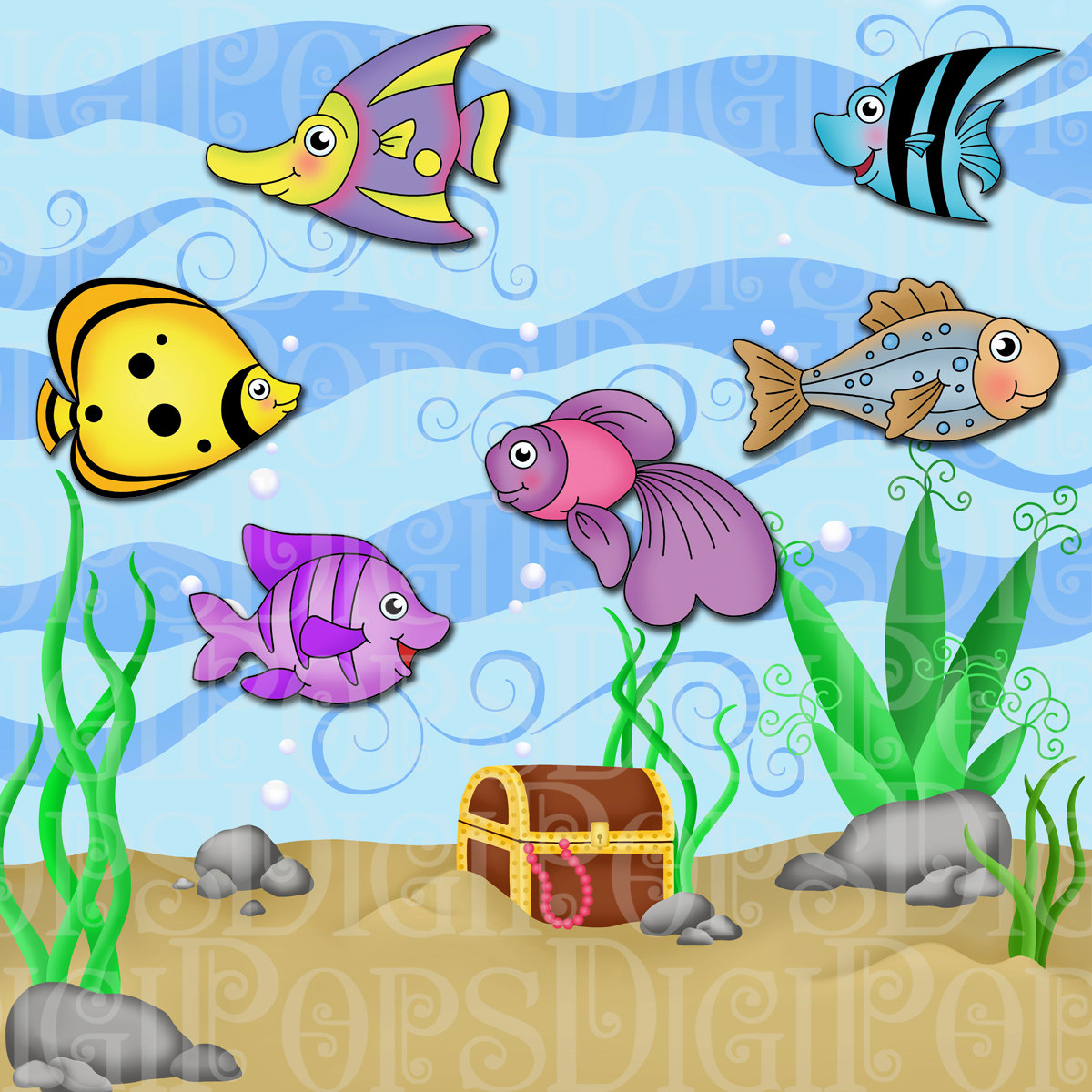 Fish in aquarium clipart.